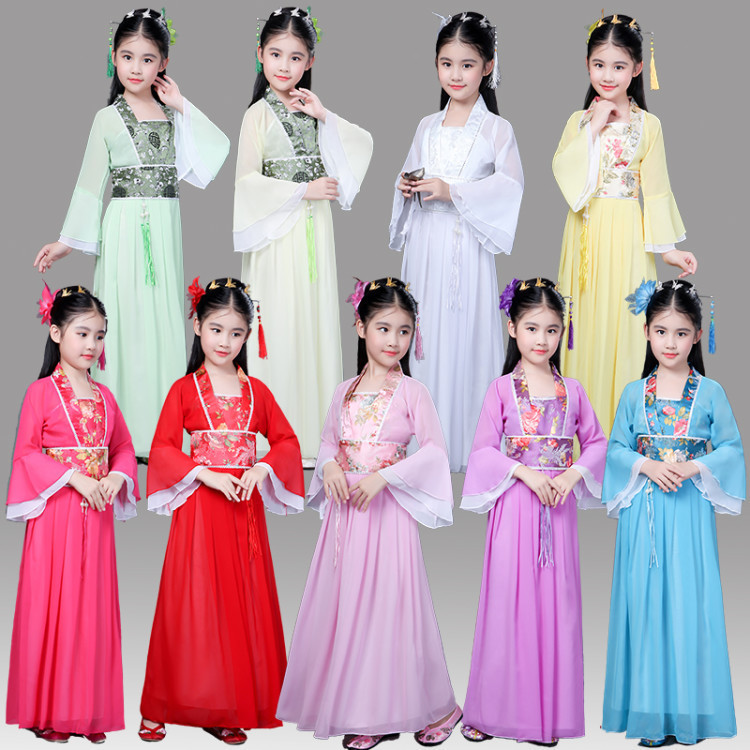 chinese traditional hanfu dress child clothing folk dance girls ancient chinese opera tang dynasty han ming costume children kid