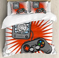 Boy's Room Duvet Cover Set Video Games Themed Design in Retro Style Gamepad Console Entertainment 4 Piece Bedding Set