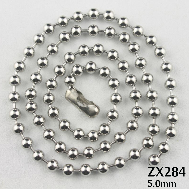 50meters 100meters 5mm ball chain stainless steel necklace beads chains fashion jewelry parts ZX284