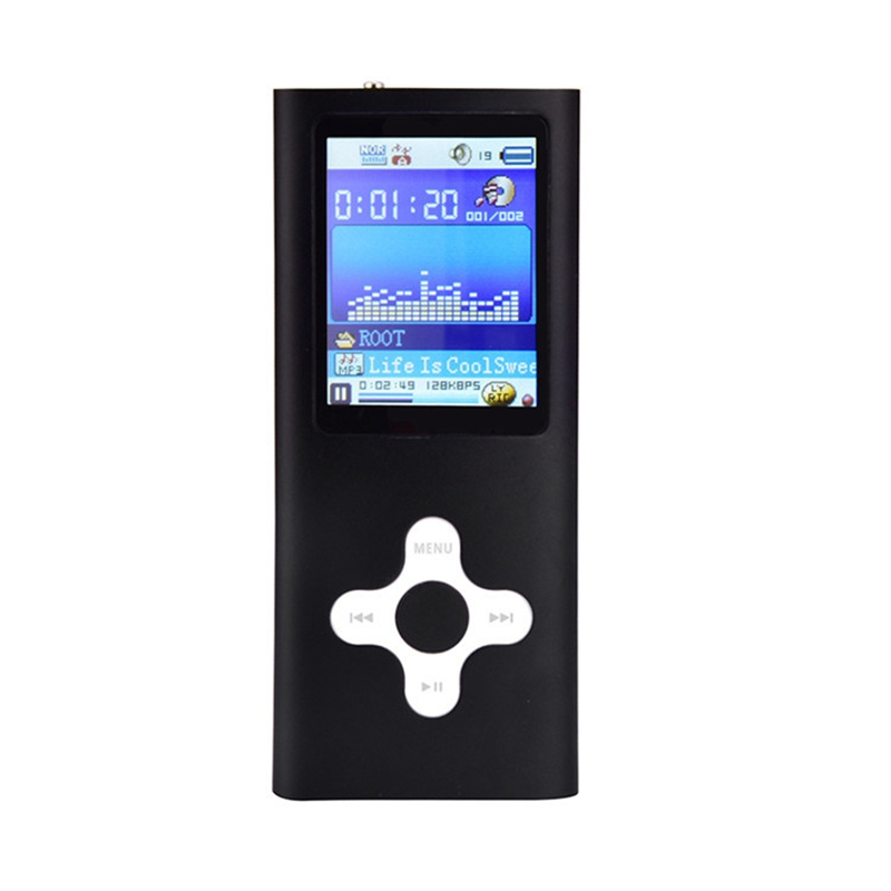 Mp4 Cross Key Card Music Video Player 1.8 Inch Lcd Can Support 64Gb Tf Card Fm Radio Black Aluminum Alloy(Without Tf Card)