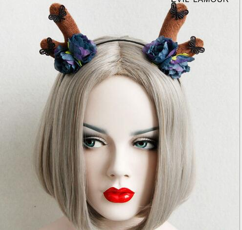 Free Shipping women's antlers with color floral hairbands party girl's lovely fashion headband lovely hair accessories