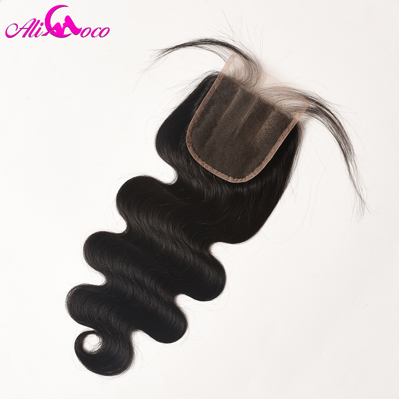 Ali Coco Hair Brazilian Body Wave 4x4 Lace Closure 8 20 inch Three Part 100 Human