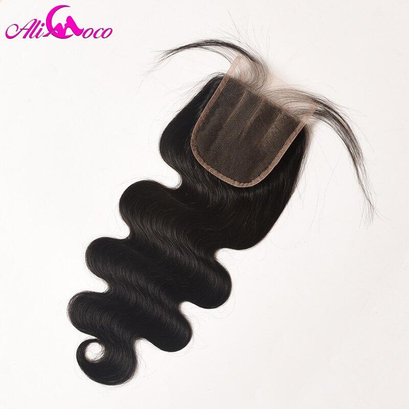 Али Коко волос Бразильский объемная волна 4x4 закрытия шнурка 8-20 дюймов три части 100% человеческих волос non-Реми природных Цвет