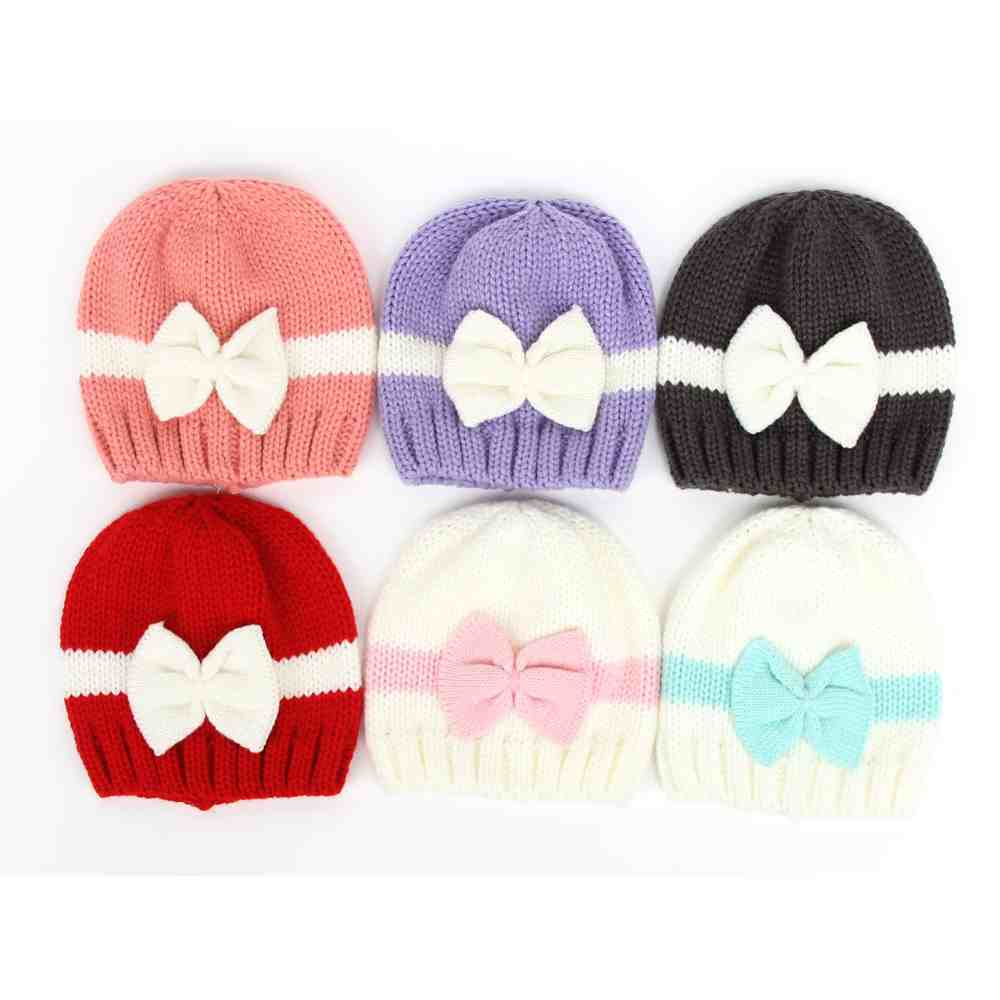 ee0424afb24 Crochet baby hat newborn beanies girl bows hats slouchy knit cap striped  beanie Children s Photo Props-in Skullies   Beanies from Apparel  Accessories on ...
