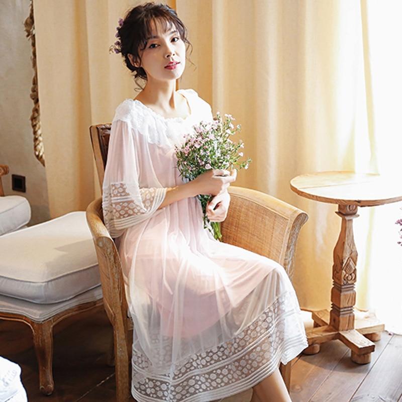 Spring&Summer High-grade Pyjamas Women Sleepwear Round Neck Solid Lingerie Dress Honeymoon Long   Nightgowns   Nighty   Sleepshirts
