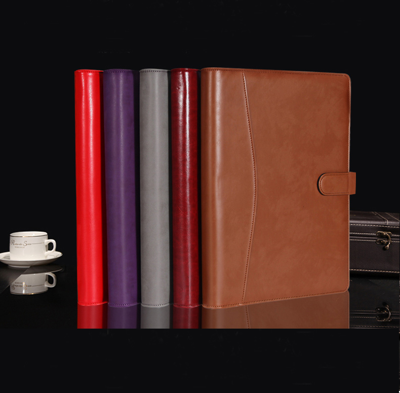 A4 PU Faux Leather Business Portfolio Folder For Documents Papers Padfolio Briefcase With Ring Binder Calculator Notebook 1210B