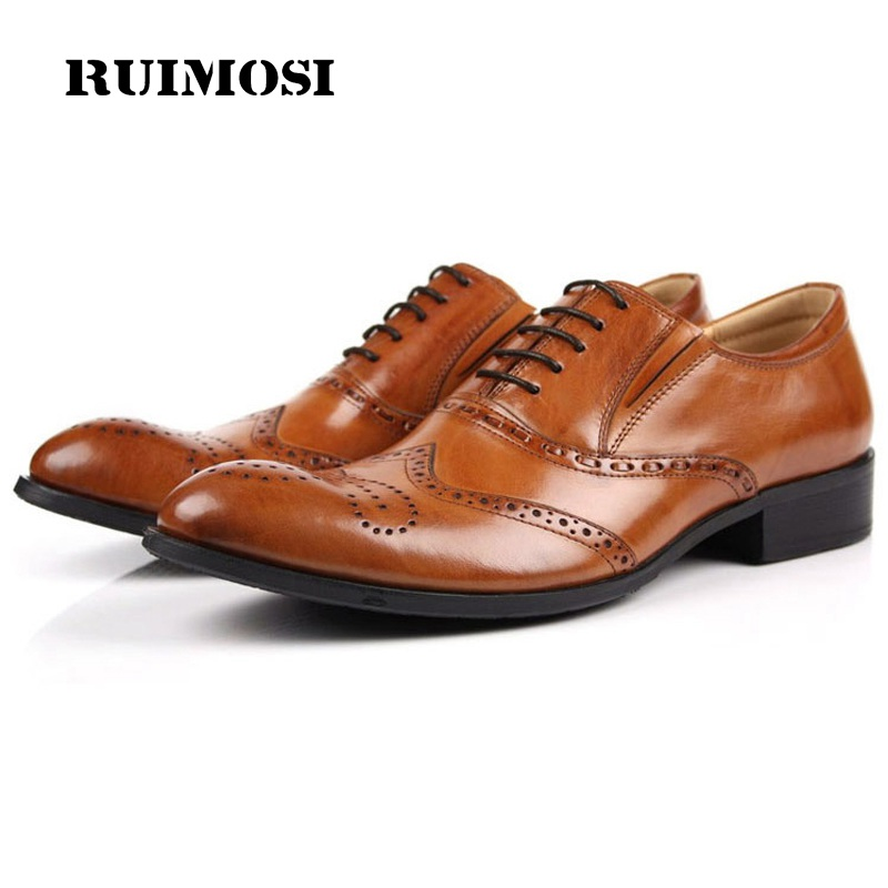 RUIMOSI Wing Tip Man Round Toe Dress Shoes Genuine Leather Cow Brogue Oxfords Male Luxury Brand Formal Men's Wedding Flats JD81