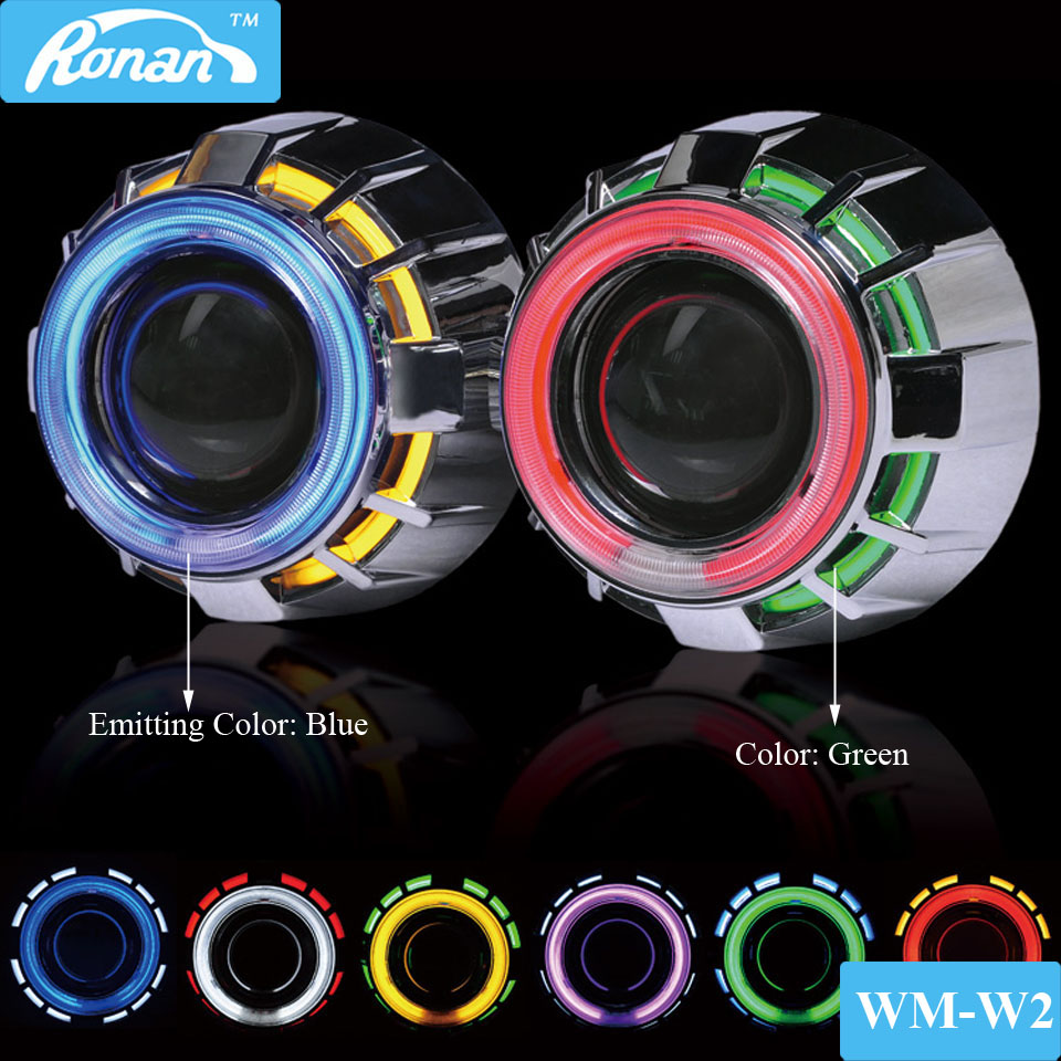 RONAN mini 2.5 double ccfl angel eyes drl Bi-xenon Projector car headlight Lens h1 rgb demon devil retrofit h4 h7 car styling