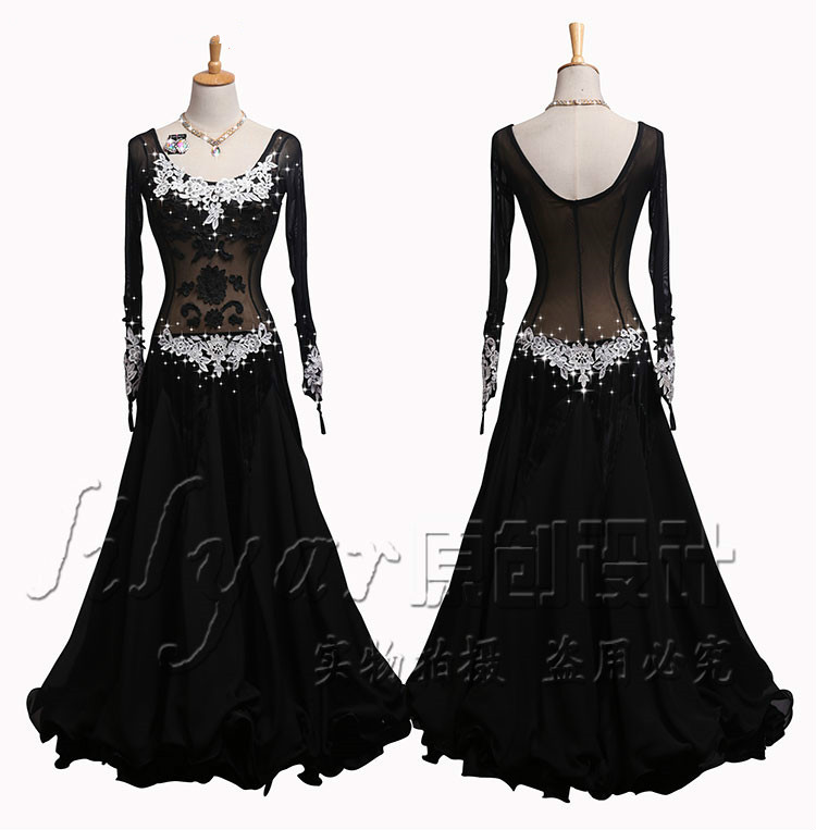 2019 New Black Lace Sexy Women Ballroom Dance Dress Long Sleeve Waltz Tango Dance Competition Performance Clothes