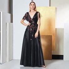 Tanpell black prom dresses v neck appliques floor length a line dress women formal evening party plus custom gown 2019