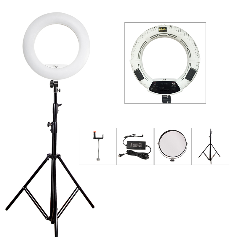 Yidoblo white FS-480II Camera Photo/Studio/Phone/Video 480 LED Ring Light +280cm Tripod 5500K Photography Dimmable Ring Lamp Kit румяна catrice artist shading palette 020 цвет 020 corall i need variant hex name f68d90
