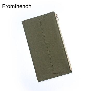 Fromthenon 旅行者のノートブックジャーナル収納袋ヴィンテージオリーブグリーンキャンバス文房具カードホルダーためみどり旅行者のノートブック