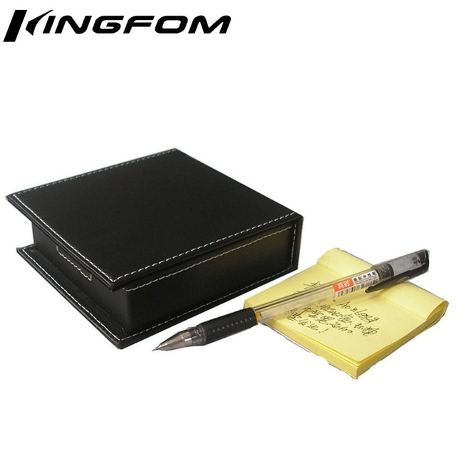 Deluxe Office Supplies Wooden Structure With Leather Covered Facilitate Posts Box Memo Holder Lid Black