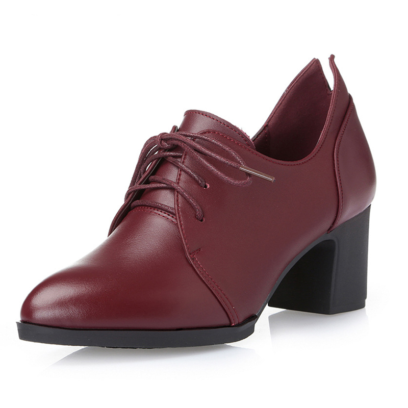 British genuine leather round toe pumps women shoes 6cm heels oxford shoes woman lace up for ladies spring Simple rubber shoes xiaying smile woman pumps shoes women spring autumn wedges heels british style classics round toe lace up thick sole women shoes