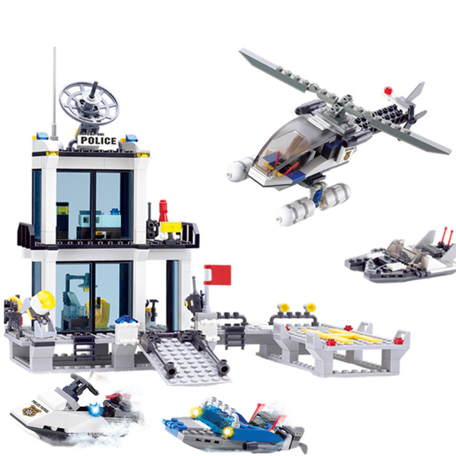 536+PCS Police Station Building Blocks Helicopter Boat Model Building Toys DIY Bricks Toys Blocks Toys For Children Kids Gift