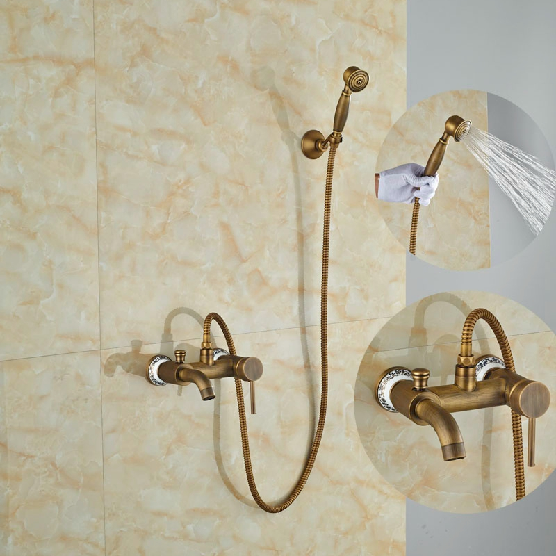 Euro Style W/Hand Shower Tub Faucet Wall Mounted Shower Set Single Handle Antique Brass