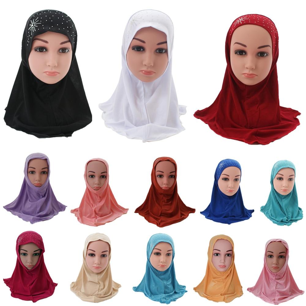 12PCS Childern Kids Girls Islamic Muslim Turban School Rhinestone Headwear Arab Ramadan Headscarf Bonnet Beanies Random Colors