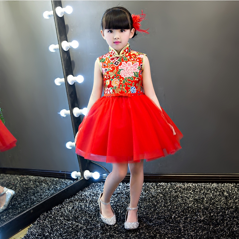 2019New cute dress cotton cheongsam ball gown embroidery retro Chinese wind red birthday party dress girl dancing dress 3-15Y 2019New cute dress cotton cheongsam ball gown embroidery retro Chinese wind red birthday party dress girl dancing dress 3-15Y