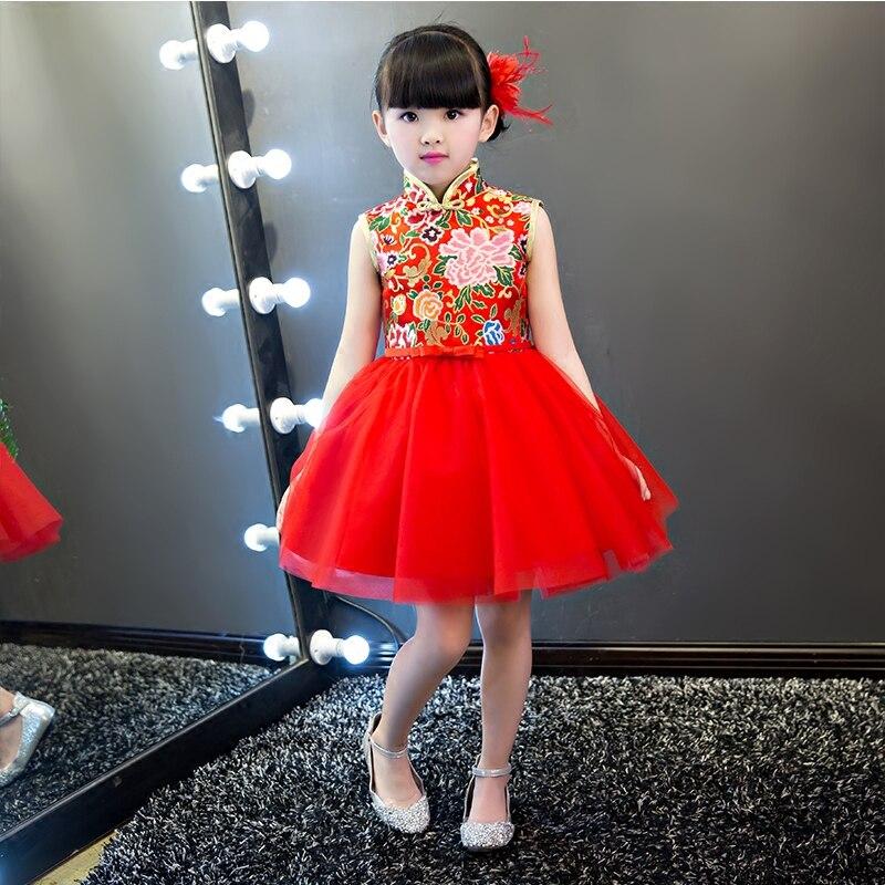 2019New mignon robe coton cheongsam robe de bal broderie rétro chinois vent rouge robe de fête d'anniversaire fille danse robe 3-15y