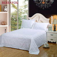Fashion Cotton Flat Bed Sheets White Blue Red Bed Lined For Hotel Bedding Full Queen King Size Bedsheet with Pillowcase lençol