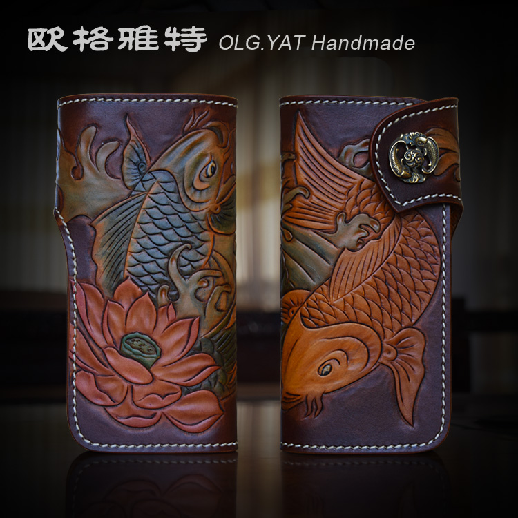 OLG.YAT Italian Vegetable tanned leather handmade long hasp wallet men purse cowhide bag double fish retro handbag Choi cloth handmade men s genuine vegetable tanned leather handbag purse clutch long wallet