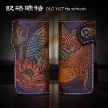 OLG.YAT Italian Vegetable tanned leather handmade long hasp wallet men purse cowhide bag double fish retro handbag Choi cloth