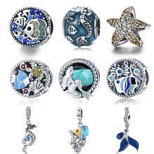 45c5fdb822e0 BISAER Dropshipping. exclusivo. plata esterlina 925 cola de sirena estrella  de mar Tropical peces cuentas encantos pulseras del .