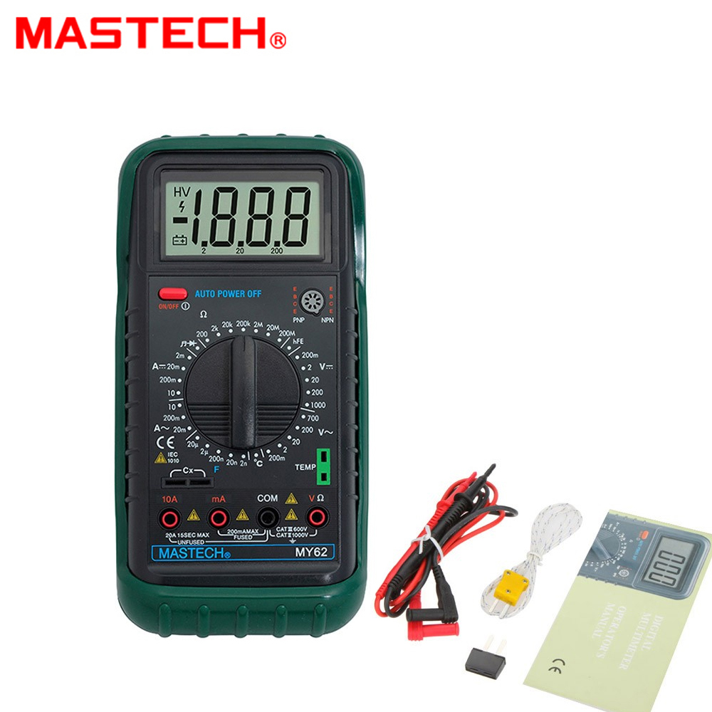 MASTECH MY62 Handheld Digital Multimeter DMM w/Temperature Capacitance & hFE Test Testers Meters mastech ms8226 handheld rs232 auto range lcd digital multimeter dmm capacitance frequency temperature tester meters