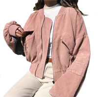 Autumn New Corduroy Jacket Female Loosen Long Sleeve Short Women Jacket and Coat Spliced Patched Casual Jackets Basic Women Coat