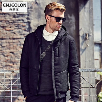 Enjeolon Brand Cotton Padded Hooded Jacket Men windproof,Parka Men Clothing Thick Quilted black short Coat Mens Hoodies WT0252