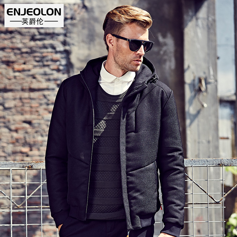 Enjeolon Brand Cotton Padded Hooded Jacket Men windproof,  Parka   Men Clothing Thick Quilted black short Coat Mens Hoodies WT0252