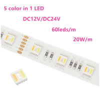 5 colors in 1 led strip RGB+WW+CW led tape light color changing RGBWW