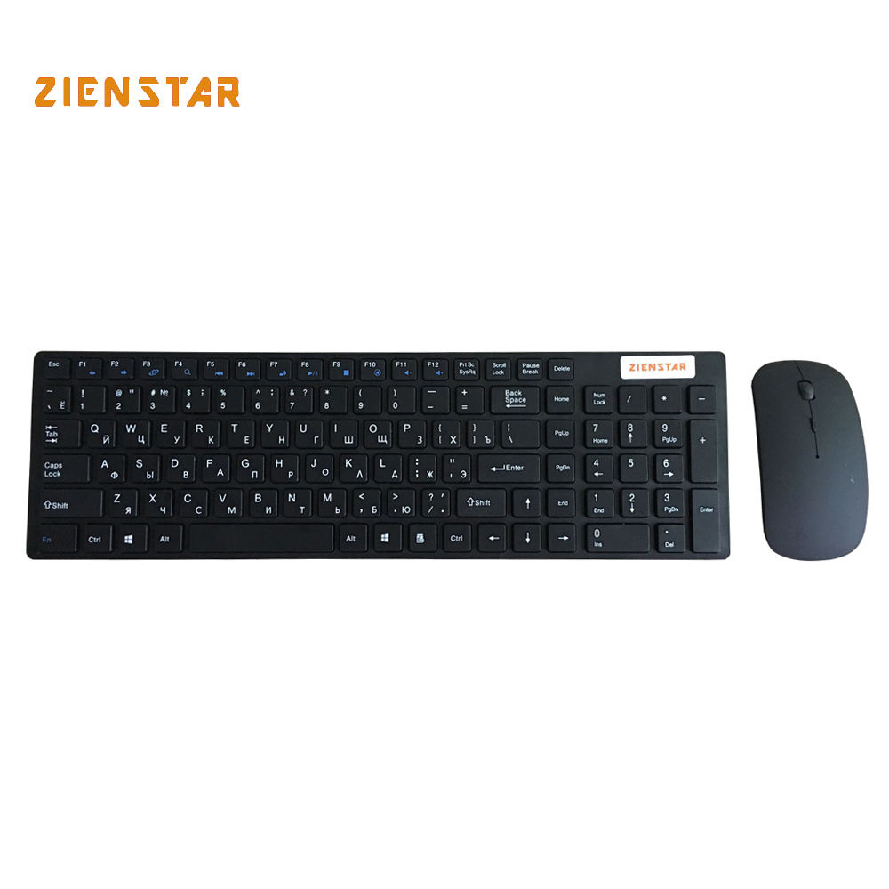Zienstar  Russian 2.4G Wireless keyboard mouse  combo  with  USB Receiver for Desktop,Computer PC,Laptop and Smart TV ru russian for samsung sf411 sf410 laptop keyboard with c shell