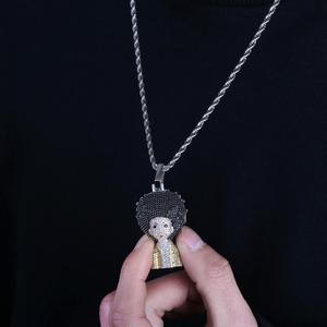 Image 5 - Iced Out The Boondocks Pendant CZ Necklace Chain Mens/Women Micro Paved Hip Hop Gold Silver Color Bling Charm Chains Jewelry