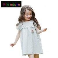 Summer Girl Dresses Light Green Korean Baby Girl Clothes Puff Sleeve Children Dress High Quality Linen