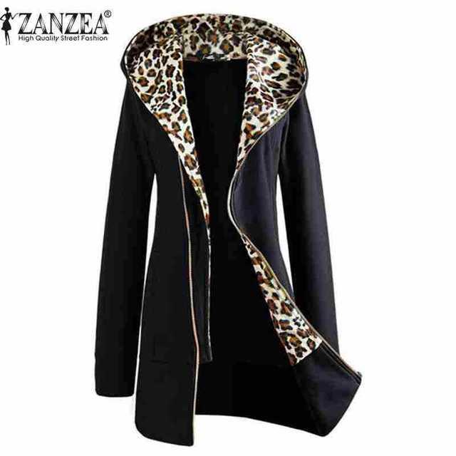 ZANZEA Moda Inverno 2017 Outono Leopardo Das Mulheres Zíper Para Cima Jaqueta Casaco Com Capuz Camisolas de Manga Longa Outwear Plus Size M-XXL
