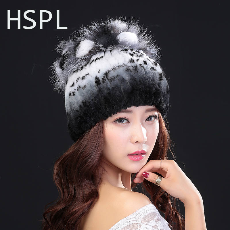 HSPL Winter Hats For Women 100 Natural Rex Rabbit Fur Winter Hats For Lady Fashion Fur