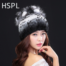 HSPL Winter Hats For  Women 100% Natural Rex Rabbit Fur Winter Hats For Lady Fashion Fur Cap Warm Beanies Lady headwear  Bone
