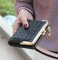 New European and American style weave wallet vintage women wallet brand small lock design women purse small zipper coin purse