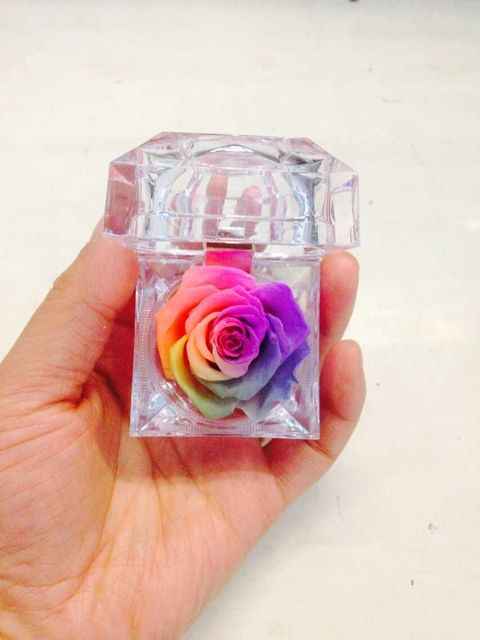 Free shipping 6pcs lot 4 8 4 8cm preserved flowers Rainbow ring box     Free shipping 6pcs lot 4 8 4 8cm preserved flowers Rainbow