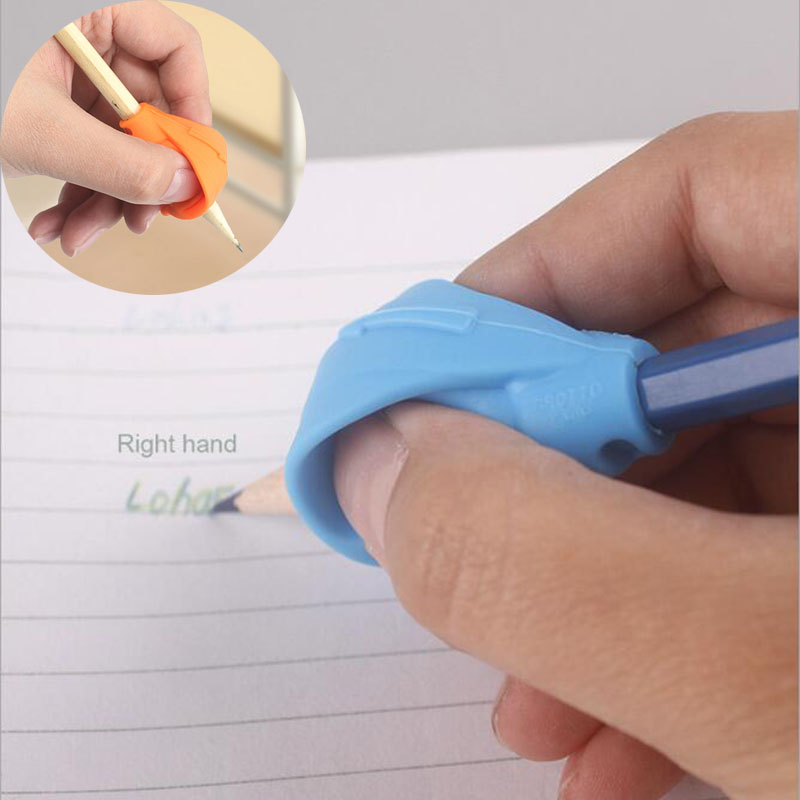 1pc Children Learning Partner Pencil Writing Pen Holder Double Finger Silicone Help Fixture Device Correct Wrong Pen Posture
