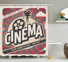 Shower Curtains Vintage Retro Cinema Movie Vintage Paper Texture Hollywoo Printing Decorative Polyester Fabric Bathroom Curtains