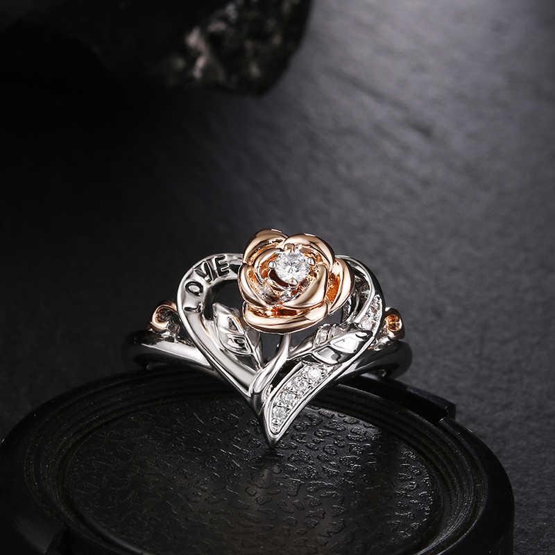 2019 ยุโรปอเมริกันออกแบบกะโหลกศีรษะแหวนผู้หญิงผู้ชาย Gothic Punk เครื่องประดับดอกไม้หัวใจ CZ คริสตัล Finger Love แหวน