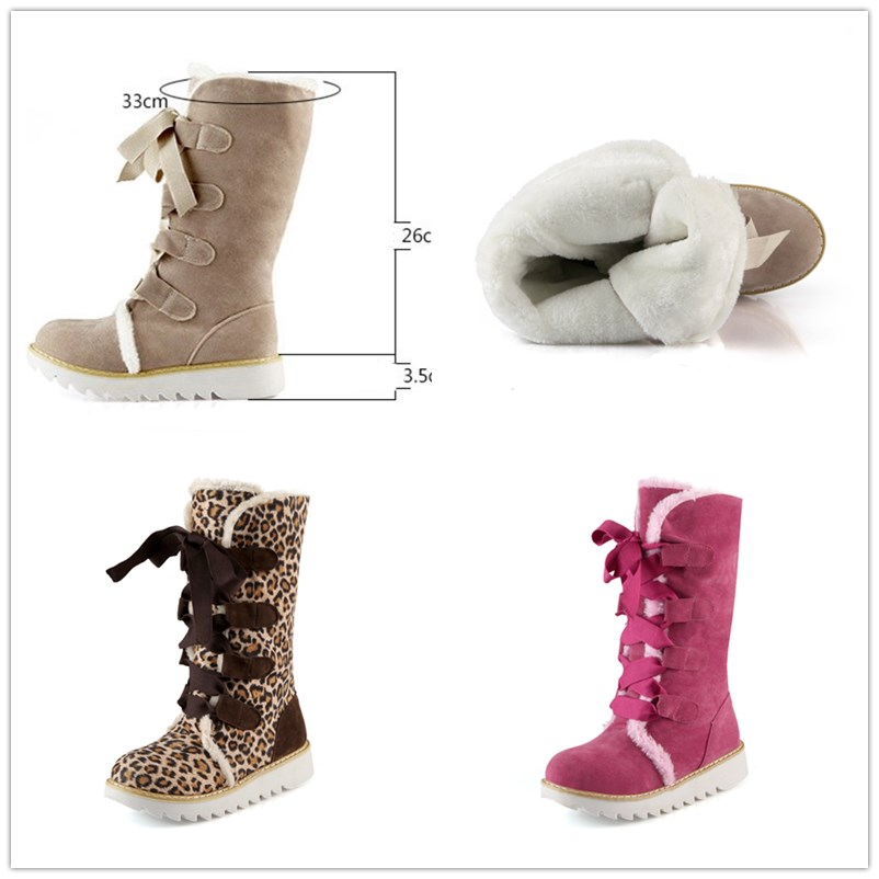 Snow Boots 2019 Winter Leopard Women Platform Boot Lace Up Chunky Shoe Ladies Plus Size Fashion Designer Woman Shoes Botas Mujer in Mid Calf Boots from Shoes