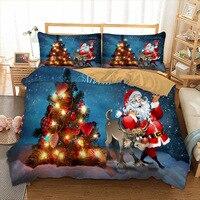 Santa Claus Bed Linen US Twin Full Queen King UK Double AU Single Size 3D Bedding Set Christmas Tree Duvet Cover Pillow Cases