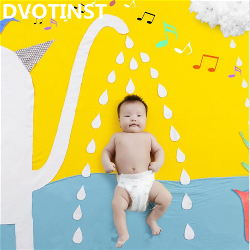 Dvotinst Newborn Baby Photography Props Elephant Bathing Theme Background Set Fotografia Accessory Studio Shooting Photo Props shengyongbao 300cm 200cm vinyl custom photography backdrops brick wall theme photo studio props photography background brw 12