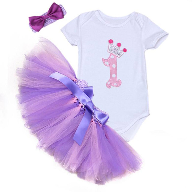 84f57e481f71 3PCs per Set Baby Girl Crown Tutu Dress Infant 1st Birthday Party Outfit  Romper Bubble Skirt Headband