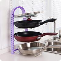 Multi layer Pot Storage Rack Multifunctional Pot Shelf Adjustable Lid Holder Cutting Board Organizer