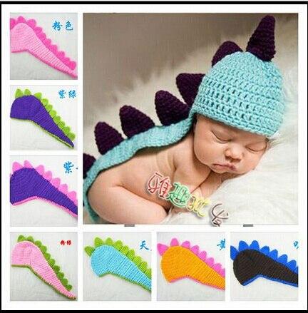 Bebé recién nacido del ganchillo sombrero del dinosaurio atrezzo ...