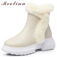 Купить с кэшбэком Meotina Real Fur Snow Boots Women Natural Genuine Leather Flat Platform Ankle Boots Bow Warm Wool Zipper Shoes Female Winter 39